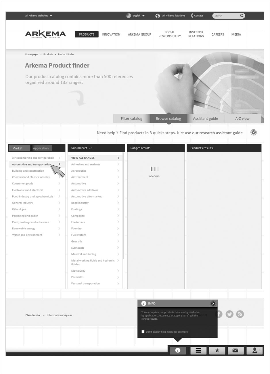 wireframe arkema product finder