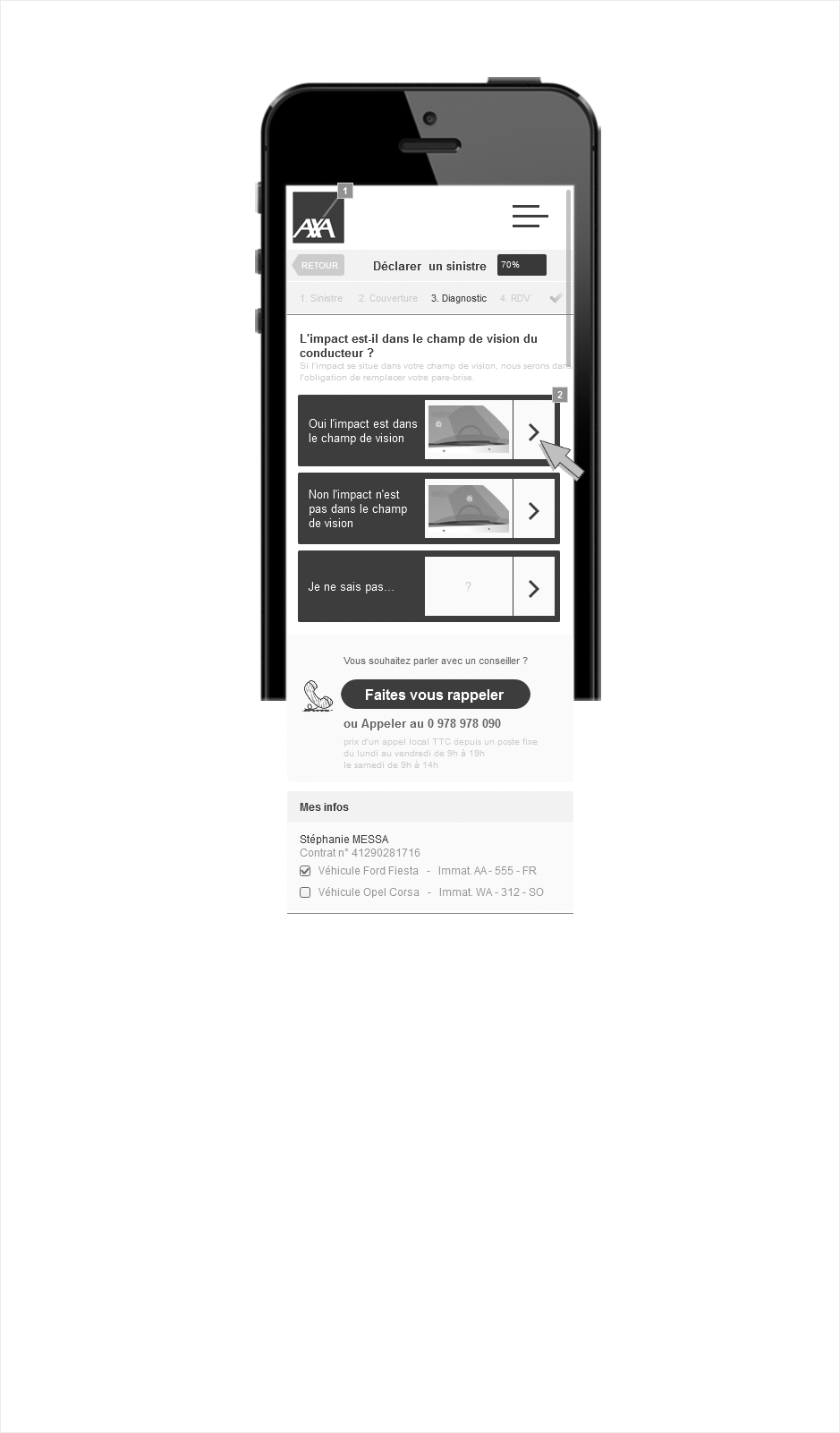 wireframe axa application mobile