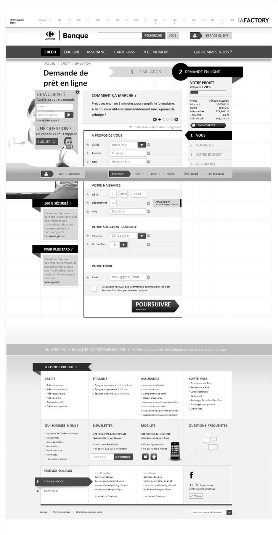 wireframe carrefour-banque