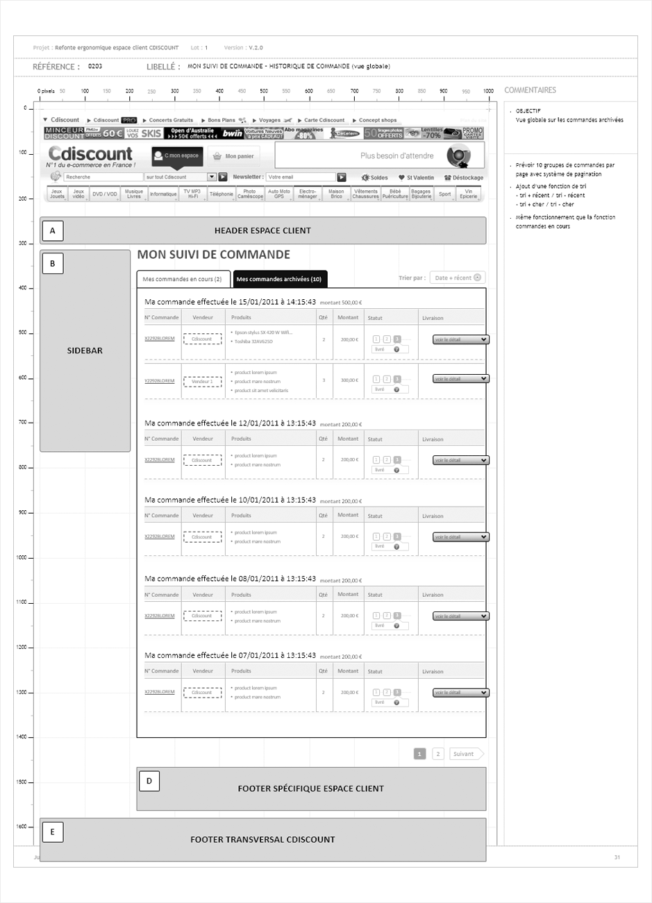 wireframe cdiscount-espace-client