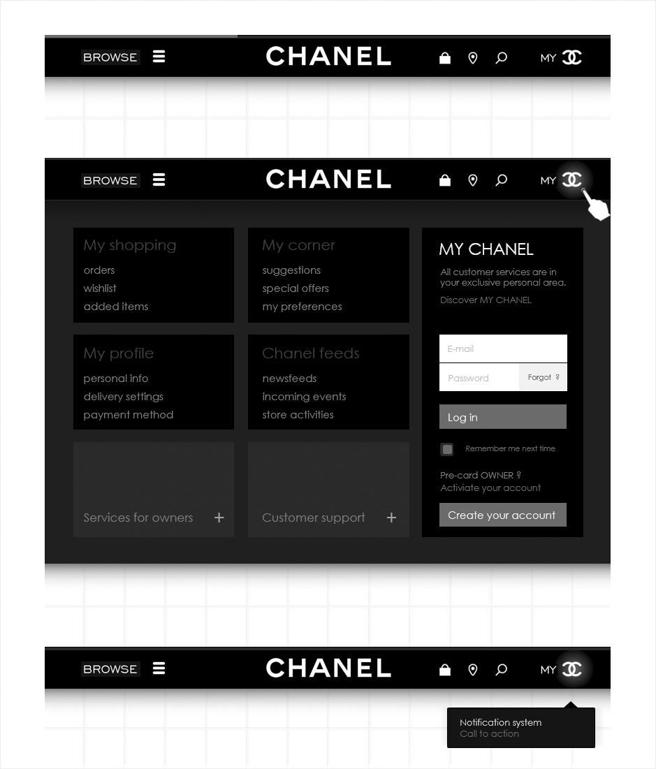 navigation, wireframe espace client CHANEL