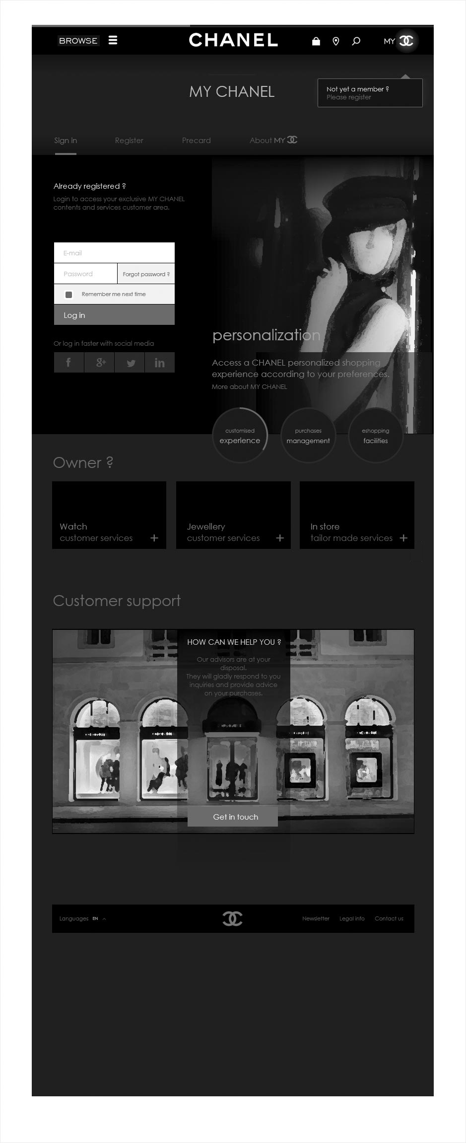 connexion, wireframe espace client CHANEL