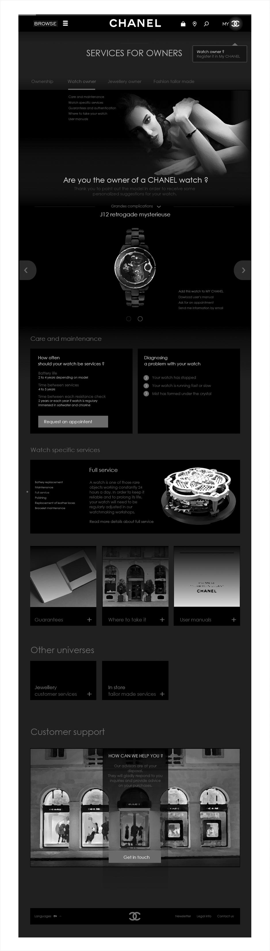 services clients, wireframe espace client CHANEL