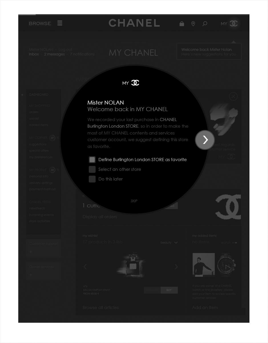 welcome page, wireframe espace client CHANEL
