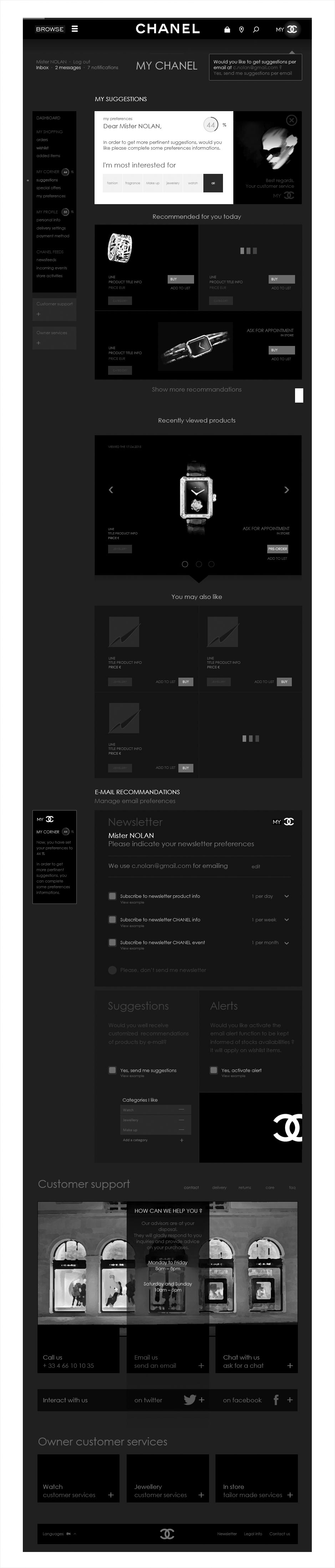 accueil, wireframe espace client CHANEL