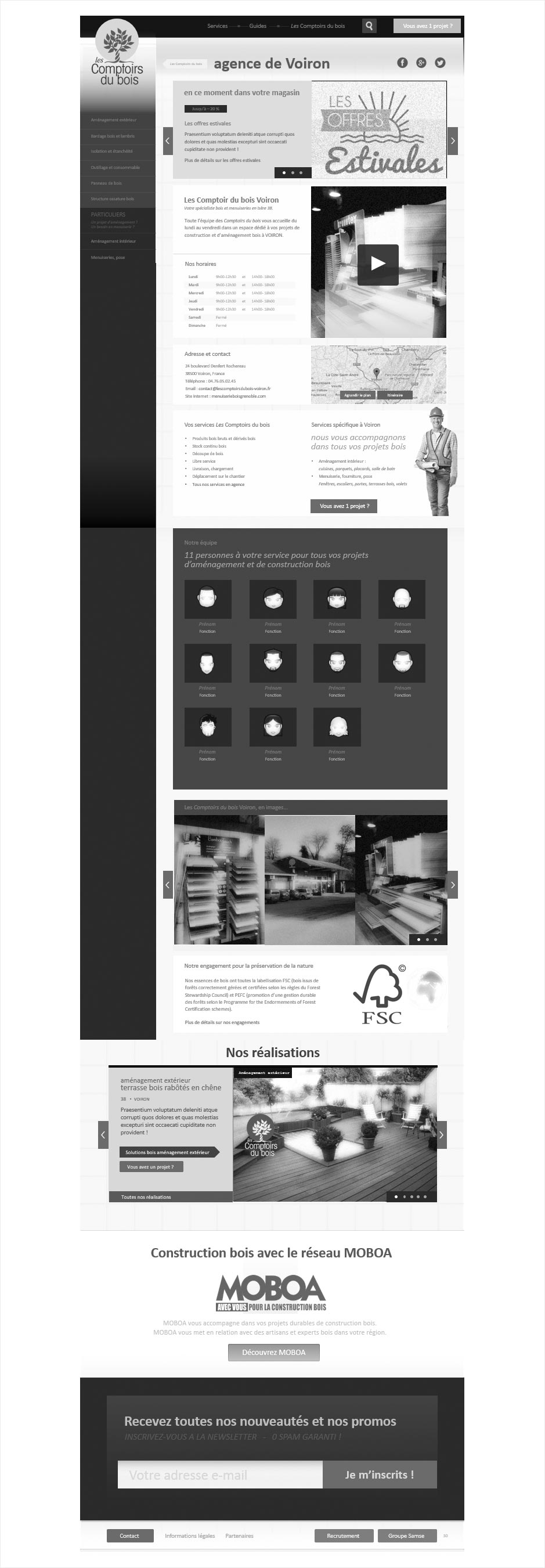 wireframe page magasin comptoir du bois - extract IAFACTORY