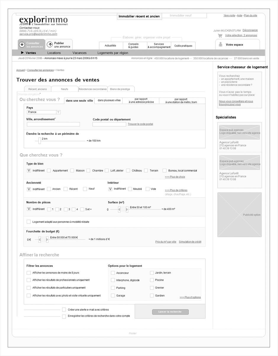 wireframe explorimmo