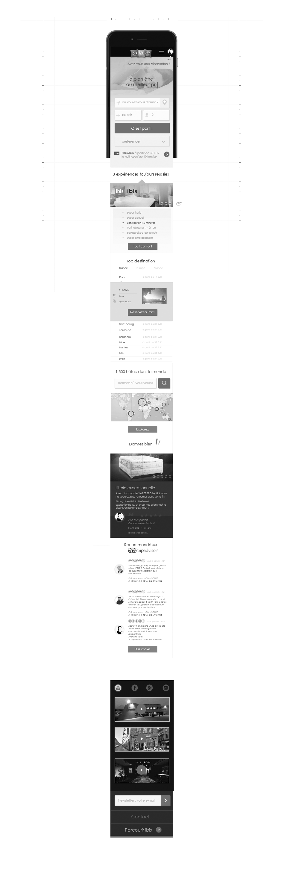 wireframe ibis, page d'accueil mobile