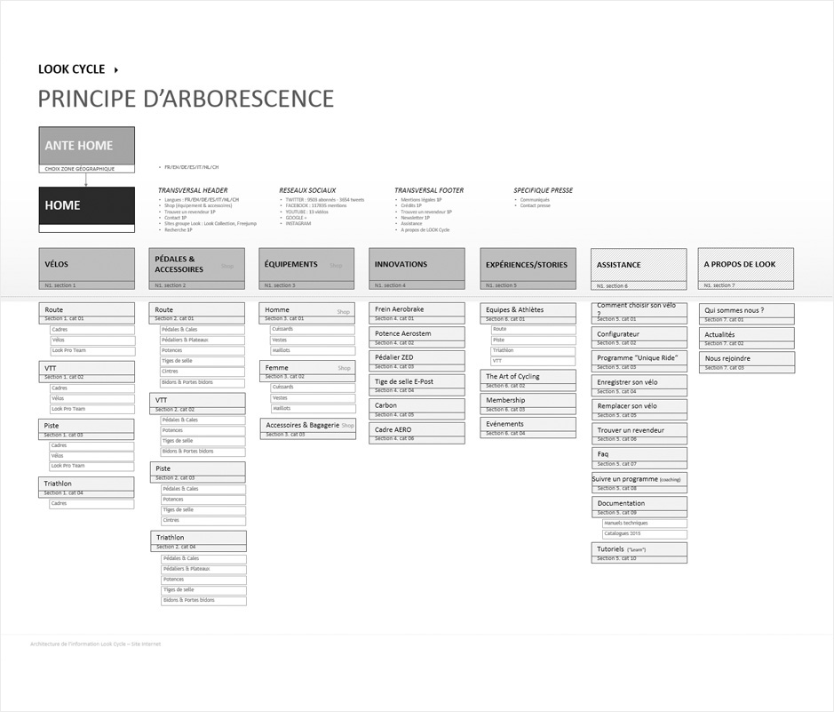 architecture de l'information, arborescence look cycle