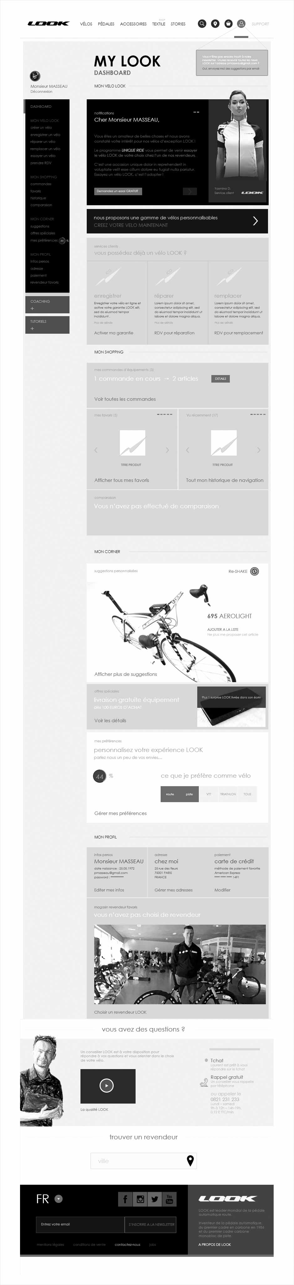 espace client, wireframe look cycle