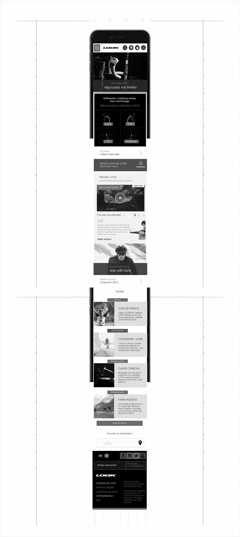 wireframe accueil mobile, wireframe look cycle
