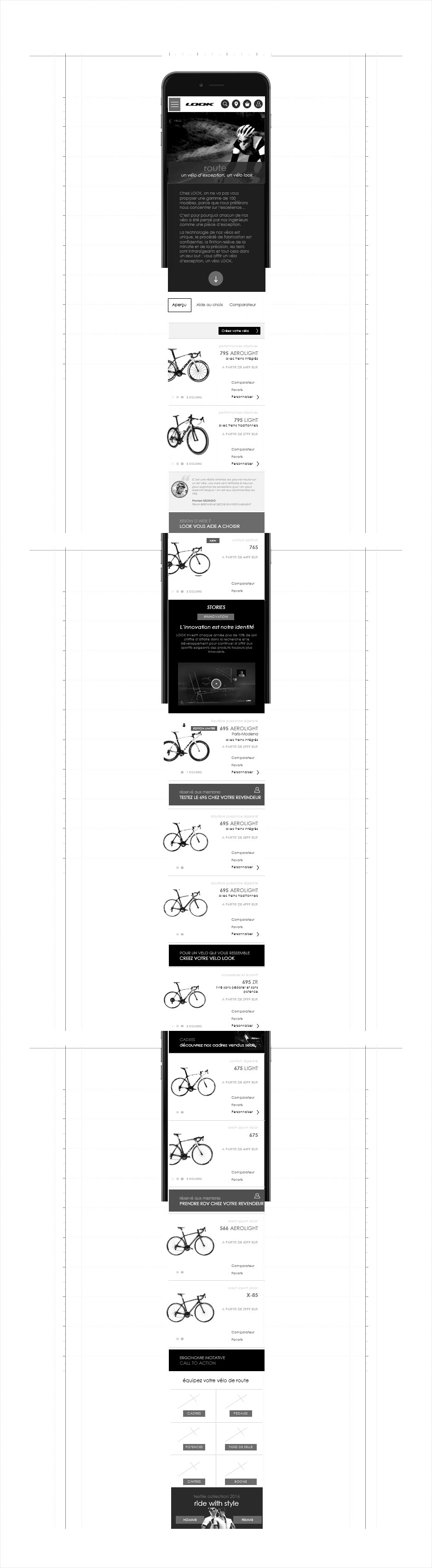 projection mobile univers vélo, wireframe look cycle