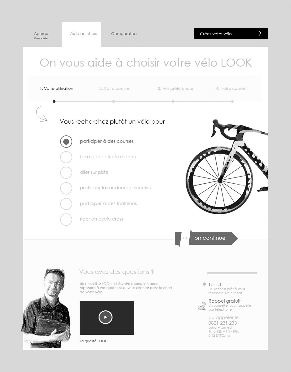 aide au choix, wireframe look cycle