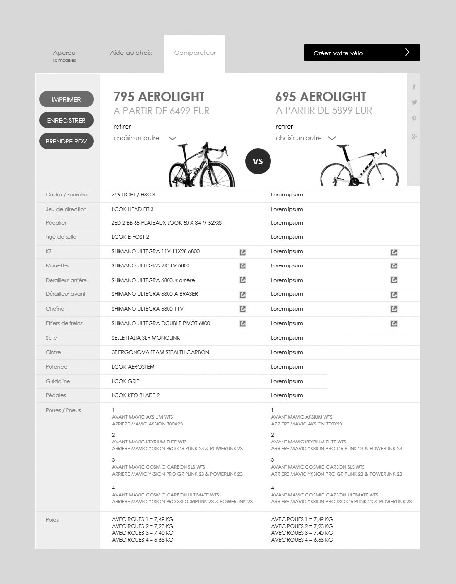 comparateur de vélos, wireframe look cycle