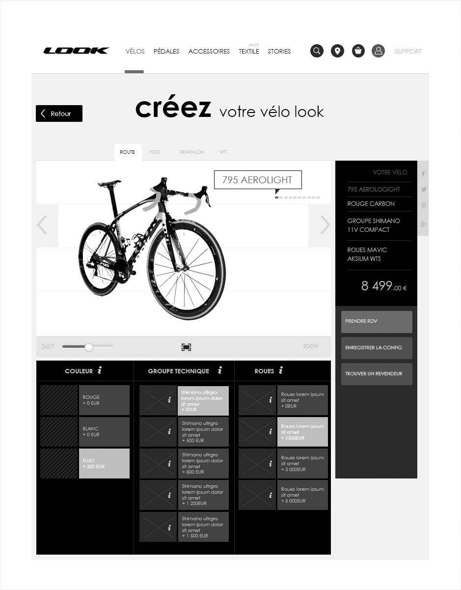 configurateur de vélos, wireframe look cycle