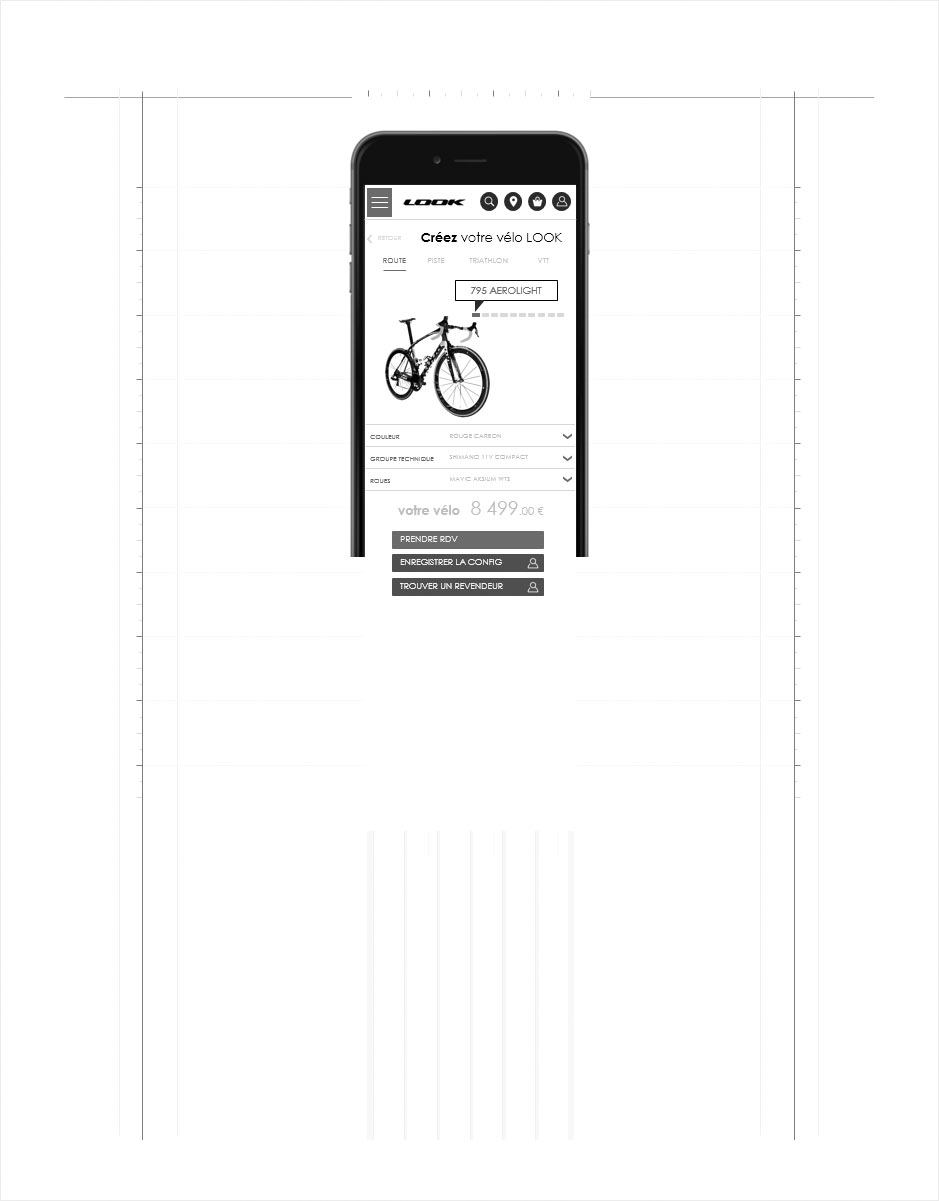 configurateur de vélos mobile, wireframe look cycle