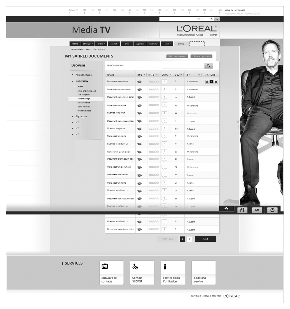 wireframe loreal-intranet-media
