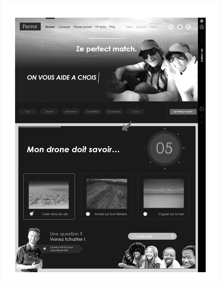 wireframe catalogue ecommerce parrot, aide au choix