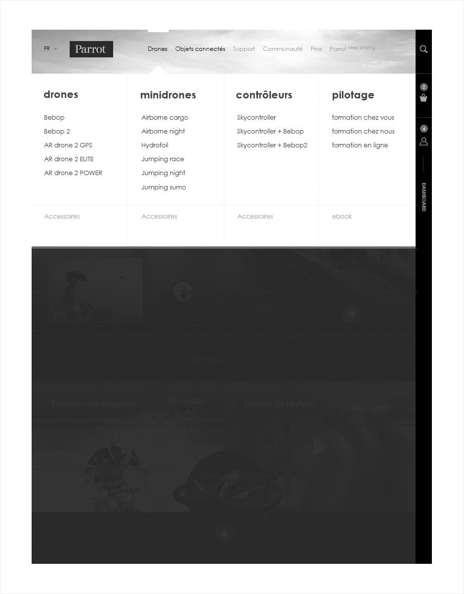 wireframe principes de navigation parrot