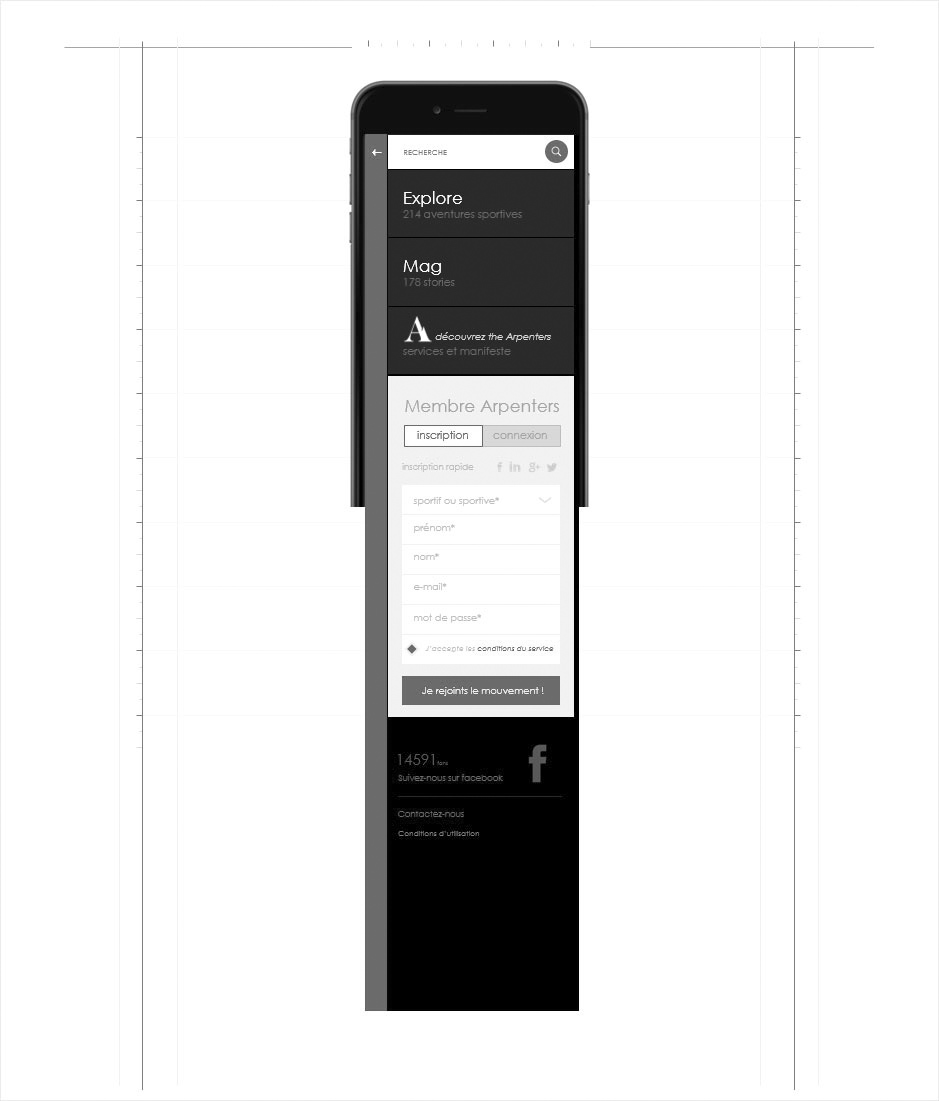 wireframe navigation mobile the arpenters sports outdoor