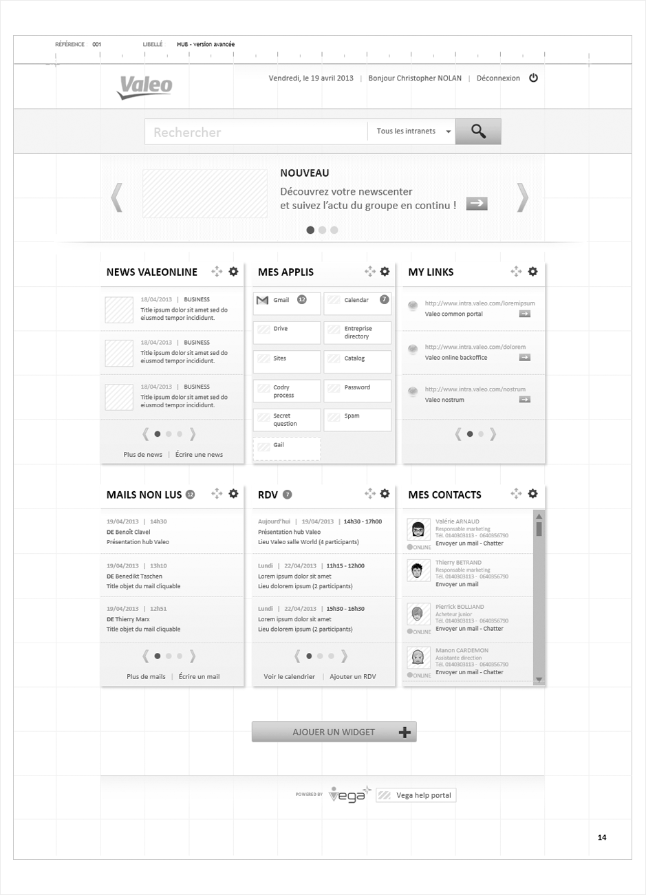 wireframe valeo-intranet
