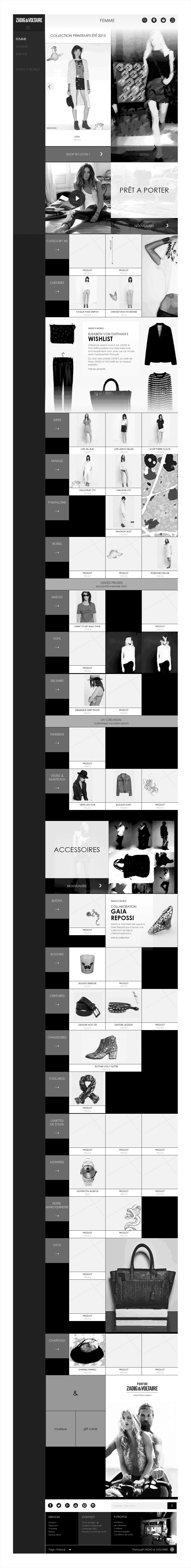 univers boutique, wireframe ecommerce zadig & voltaire