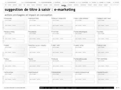 planning des actions emarketing