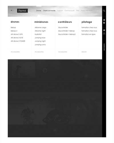 Menu de navigation overlayer
