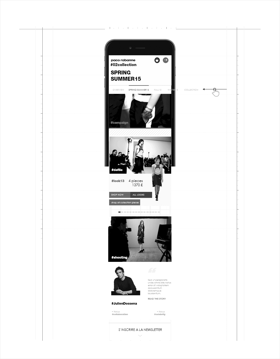 wireframe page collection mobile paco rabanne