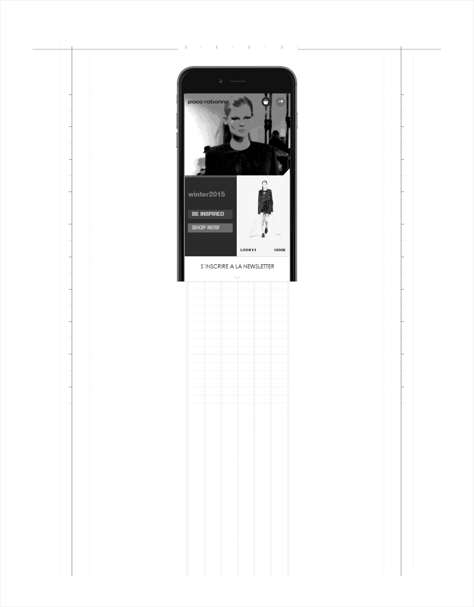 wireframe paco rabanne accueil mobile