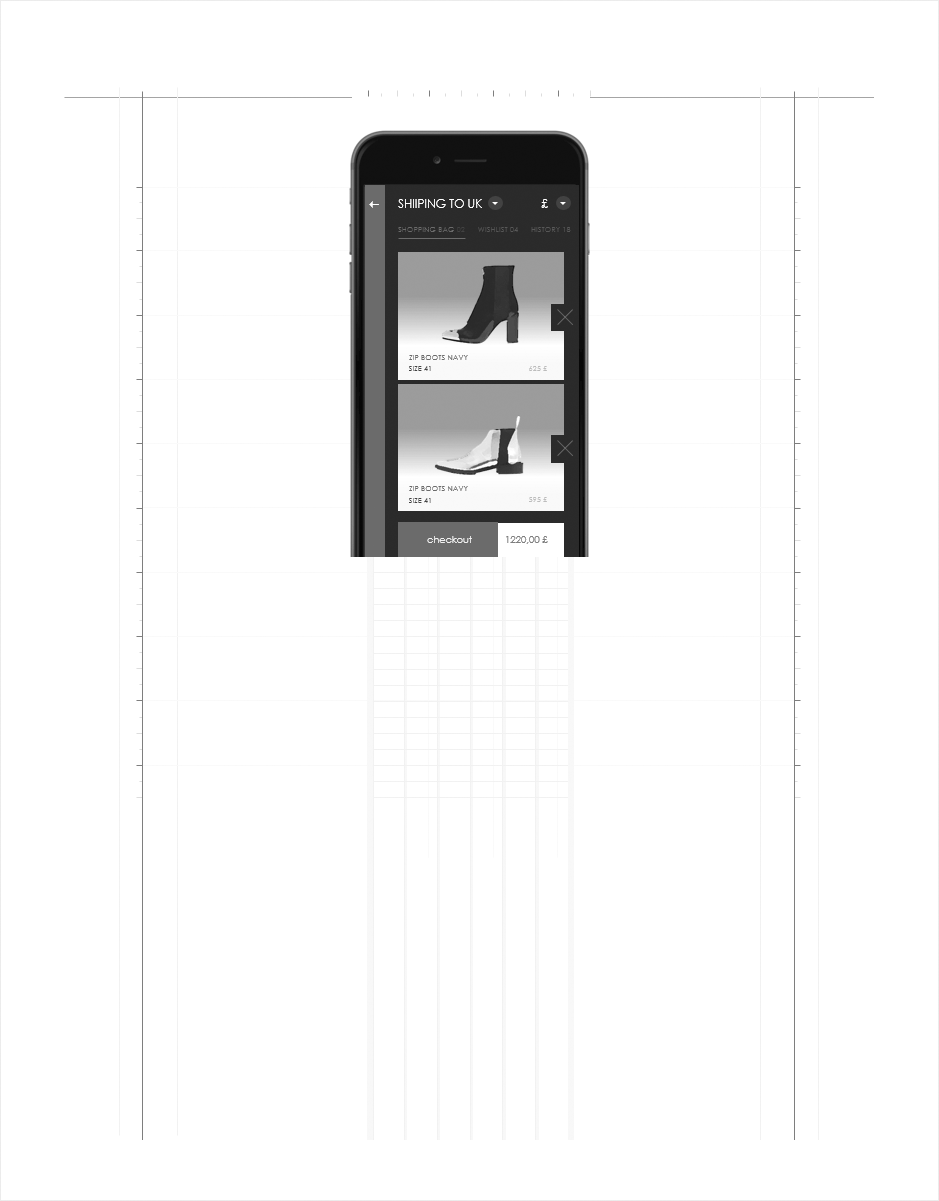 wireframe panneau shopping cart mobile paco rabanne
