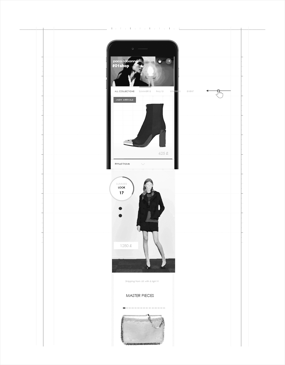 univers shop mobile wireframe paco rabanne