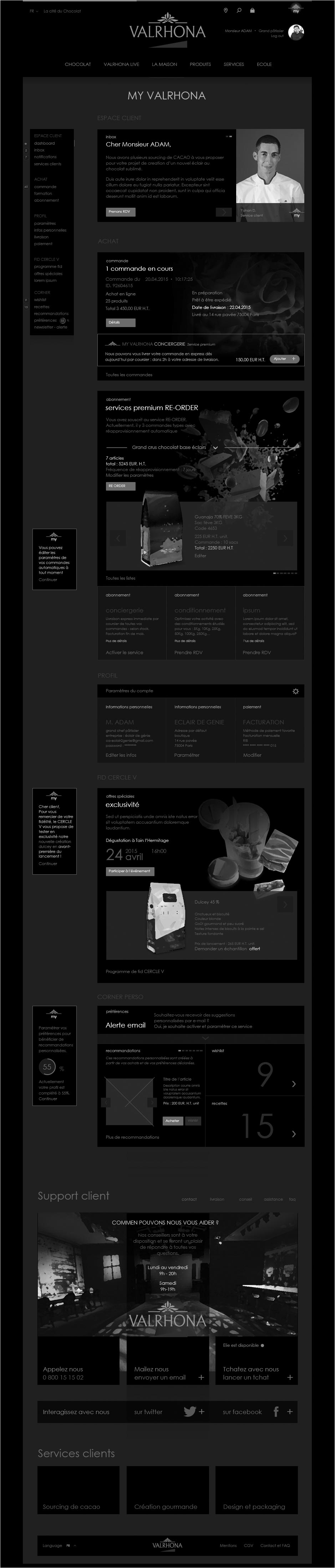 wireframe valrhona, espace client